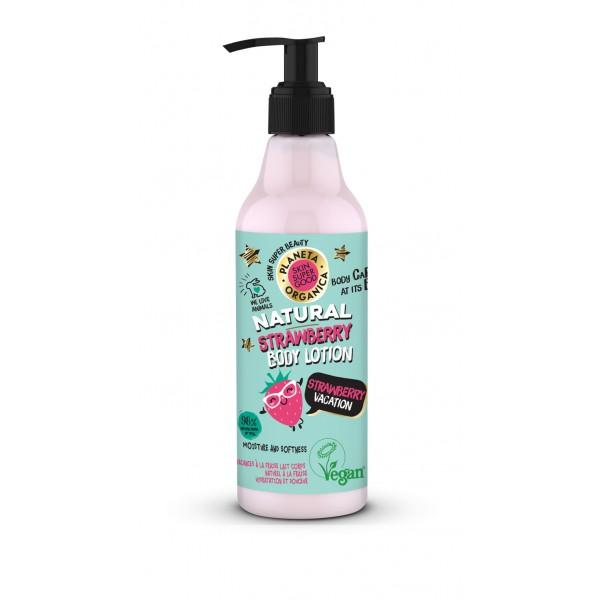 Skin Super Good, Φυσική λοσιόν σώματος, με φράουλα, «Φραουλένιες Διακοπές», 250 ml